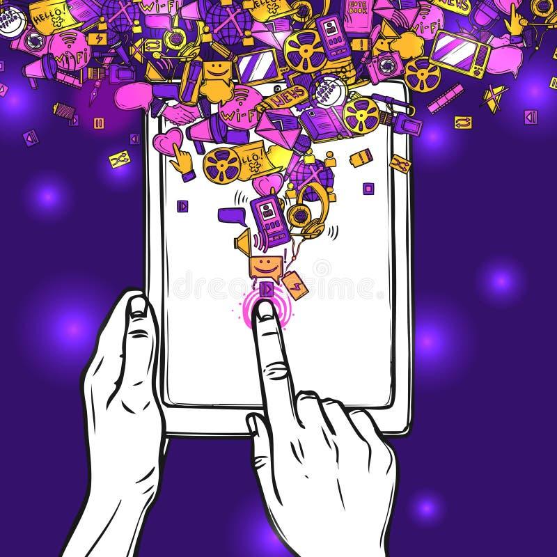 Concepto de la comunicación con la tableta libre illustration