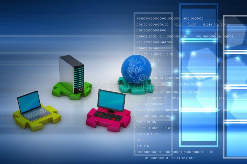 Concepto de la comunicación de la red y del Internet stock de ilustración