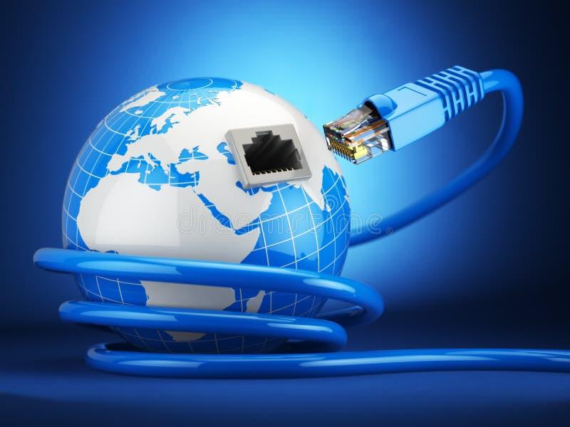 Concepto de la comunicación global de Internet Tierra y cable de Ethernet o ilustración del vector
