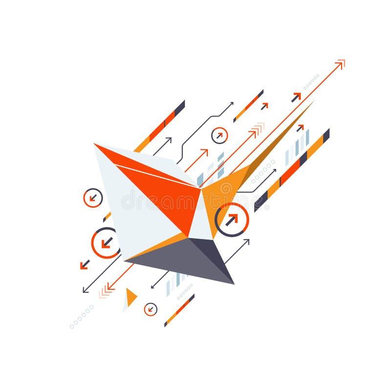 Concepto de la comunicación de la tecnología del negocio del vector, diseño creativo de la forma del extracto del polígono ilustración del vector