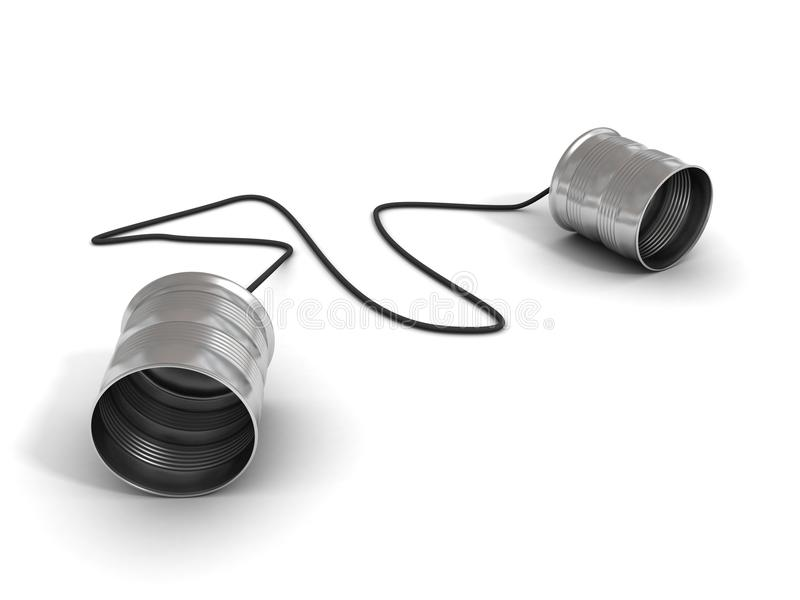 Concepto de la comunicación: teléfono de la poder de estaño ilustración del vector