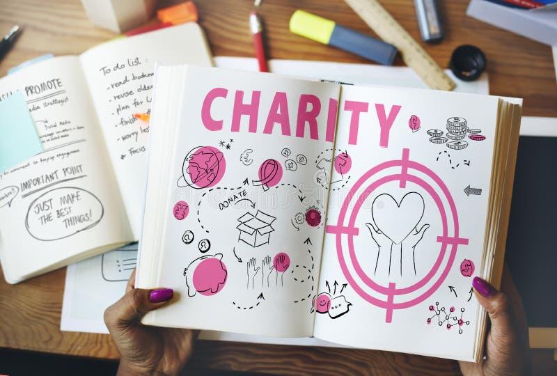 Concepto de la conciencia de la donación de la ayuda de la caridad foto de archivo