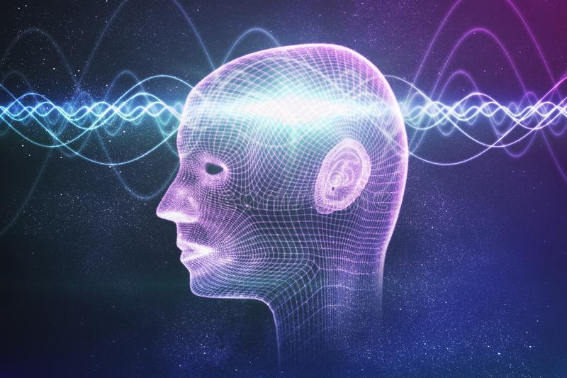 Concepto de la conciencia, de la metafísica o de la inteligencia artificial Las ondas pasan a través de la cabeza humana 3D rindi stock de ilustración