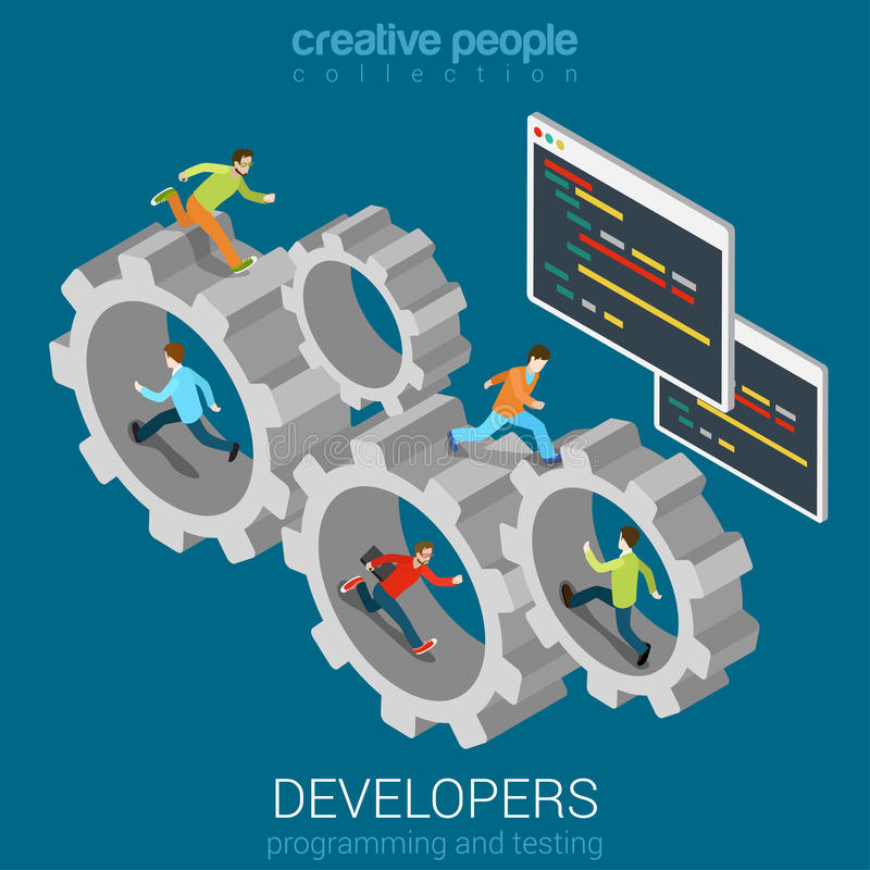 Concepto de la conexión de la rueda dentada del trabajo en equipo de los promotores del programa stock de ilustración