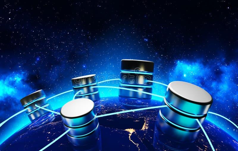 Concepto de la conexión de red global, de la comunicación empresarial y de la informática stock de ilustración