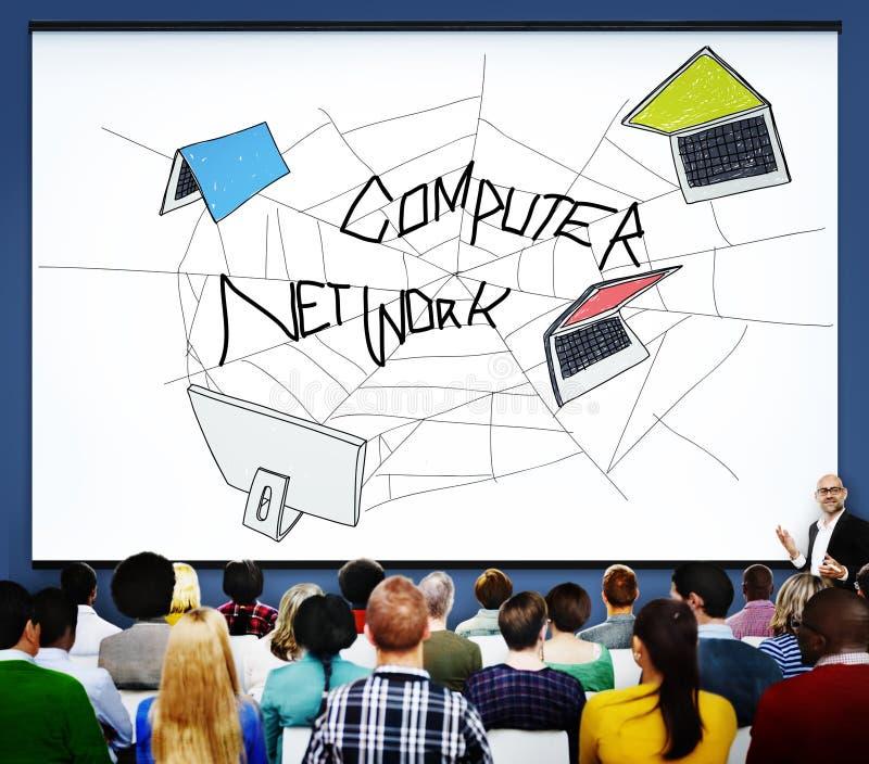 Concepto de la conexión del bosquejo del web de la red de ordenadores imagenes de archivo