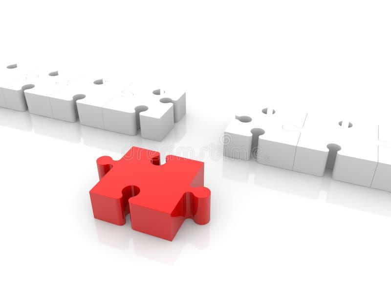 Concepto de la conexión del rompecabezas en blanco y rojo ilustración del vector