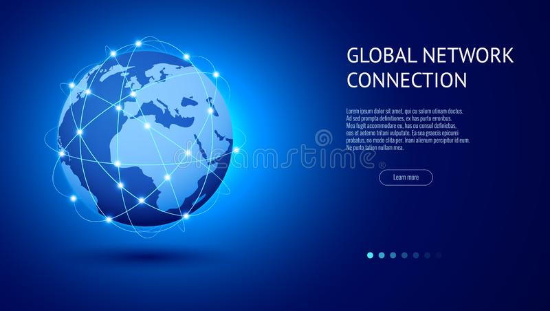 Concepto de la conexión de red global Mejor Internet, negocio global Punto y línea vector del mapa del mundo de la composición stock de ilustración