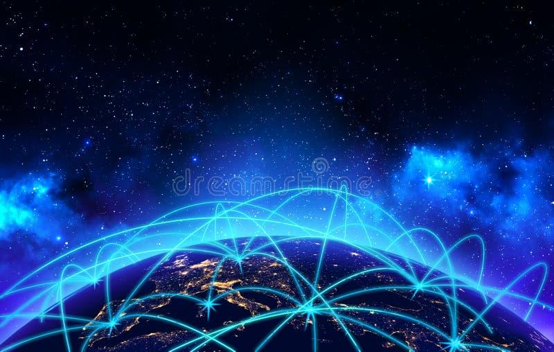 Concepto de la conexión y de la comunicación empresarial de red global stock de ilustración