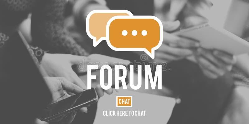 Concepto de la conferencia de las comunicaciones globales de la discusión del foro imagenes de archivo