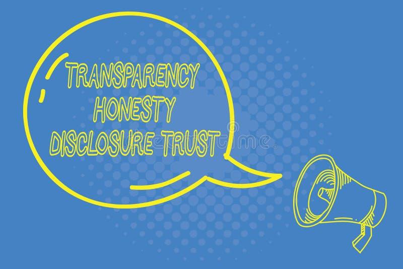 Concepto de la confianza del acceso de la honradez de la transparencia de la escritura del texto de la escritura que significa vo ilustración del vector