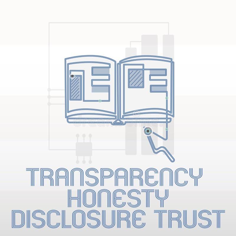 Concepto de la confianza del acceso de la honradez de la transparencia de la escritura del texto de la escritura que significa vo stock de ilustración