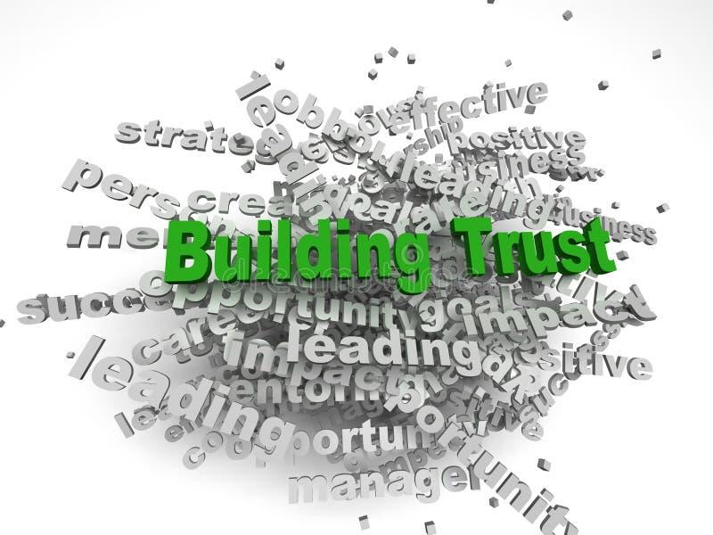 concepto de la confianza del edificio del imagen 3d en nube de la etiqueta de la palabra en la parte posterior del blanco ilustración del vector