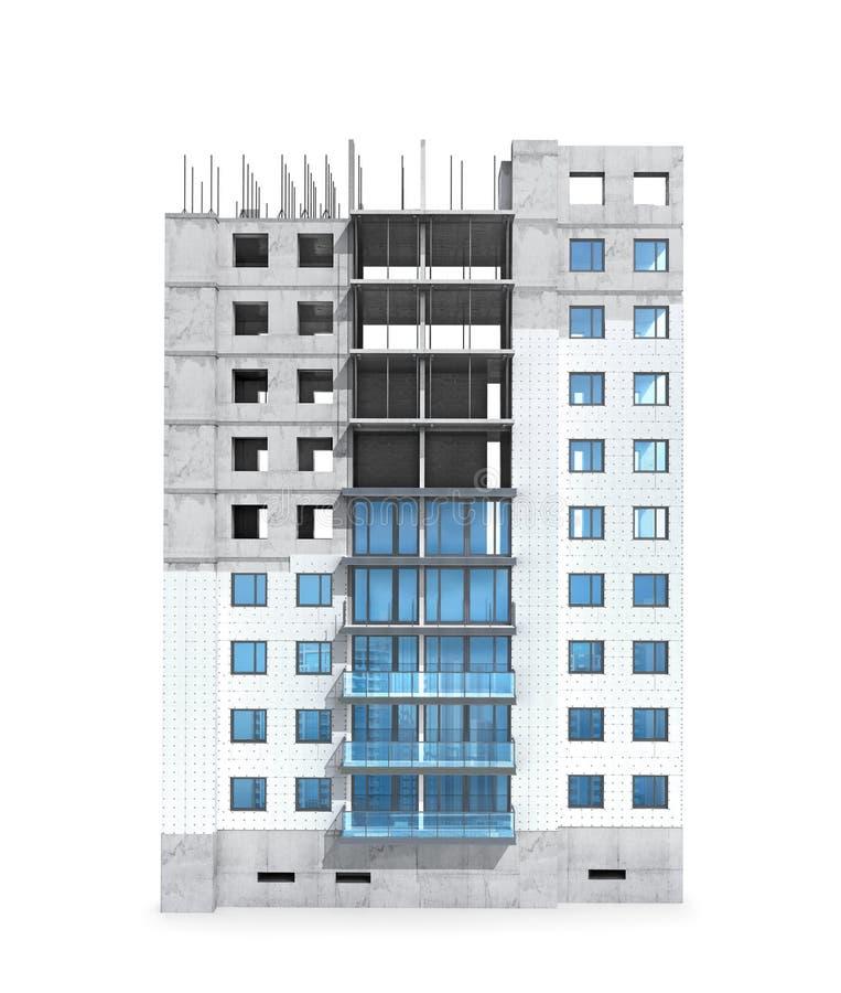 Concepto de la construcción de edificios residenciales, aislamiento del esquema de una casa monolítica privada stock de ilustración