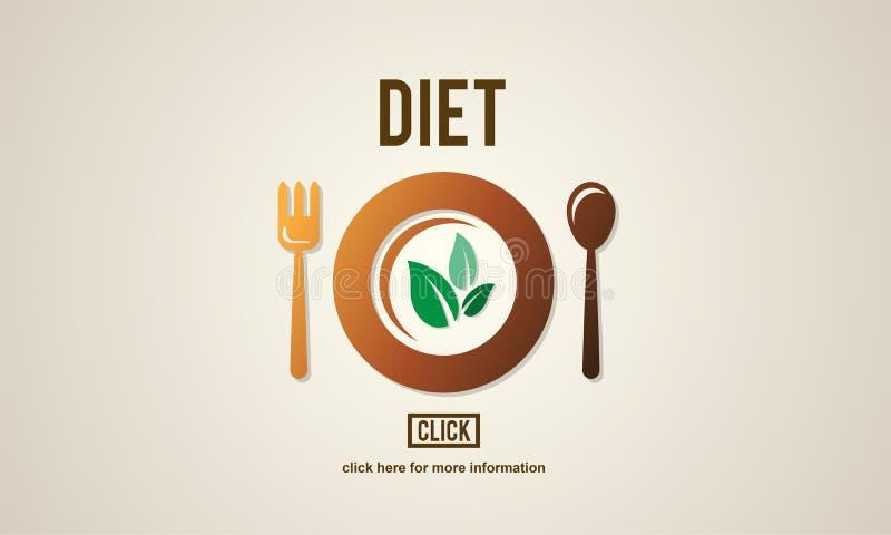 Concepto de la consumición de la comida de la vida de la nutrición de la salud de la dieta stock de ilustración