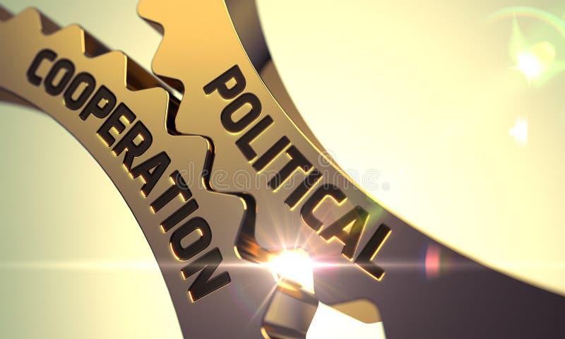 Concepto de la cooperación política Ruedas dentadas metálicas de oro 3d imagenes de archivo