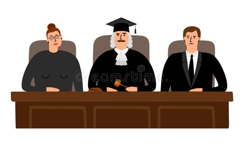 Concepto de la corte de los jueces stock de ilustración