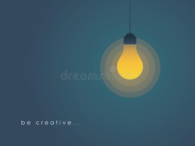 Concepto de la creatividad con la bombilla encendido Nuevo, fresco, creativo concepto de la idea stock de ilustración