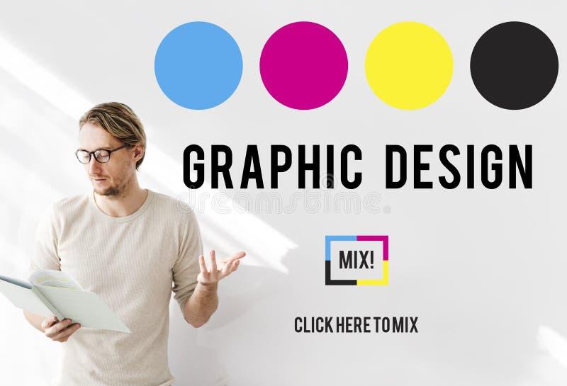 Concepto de la creatividad de los gráficos del diseño de la tinta de CMYK imagenes de archivo