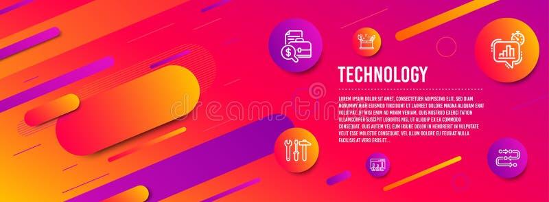 Concepto de la creatividad, resultados de la encuesta y sistema de los iconos de la herramienta de la llave inglesa Vector libre illustration