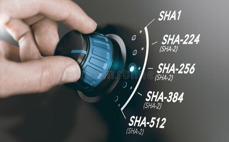 Concepto de la criptografía, algoritmo de hachís criptográfico SHA-2 fotografía de archivo