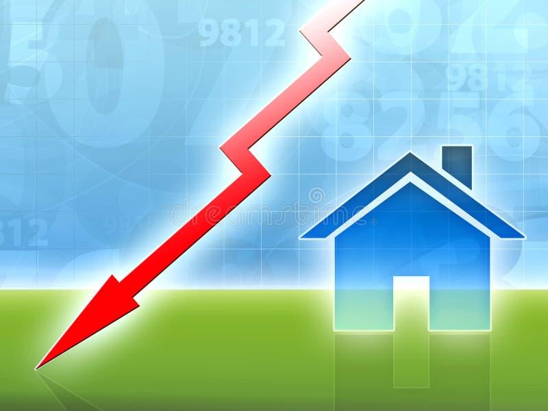 Concepto de la crisis del mercado de la casa de la característica abajo libre illustration