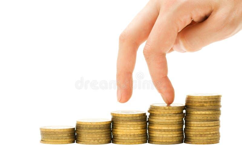 Concepto de la crisis financiera - el beneficio va abajo foto de archivo