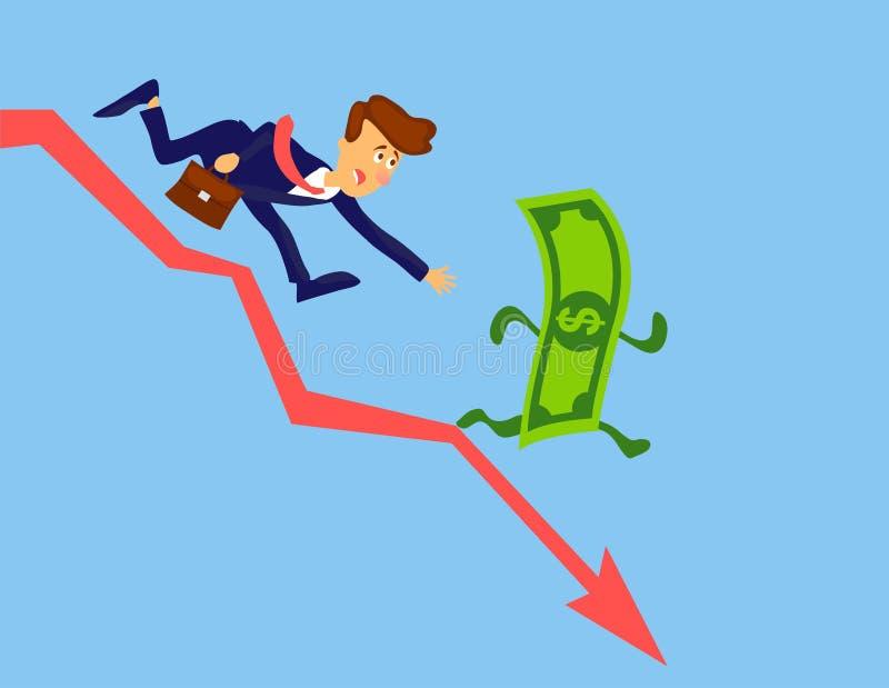 Concepto de la crisis financiera Pérdida del dinero Diseño del vector de la inflación del dinero Hombre de negocios que persigue  libre illustration