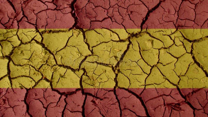 Concepto de la crisis política: Grietas del fango con la bandera de España libre illustration