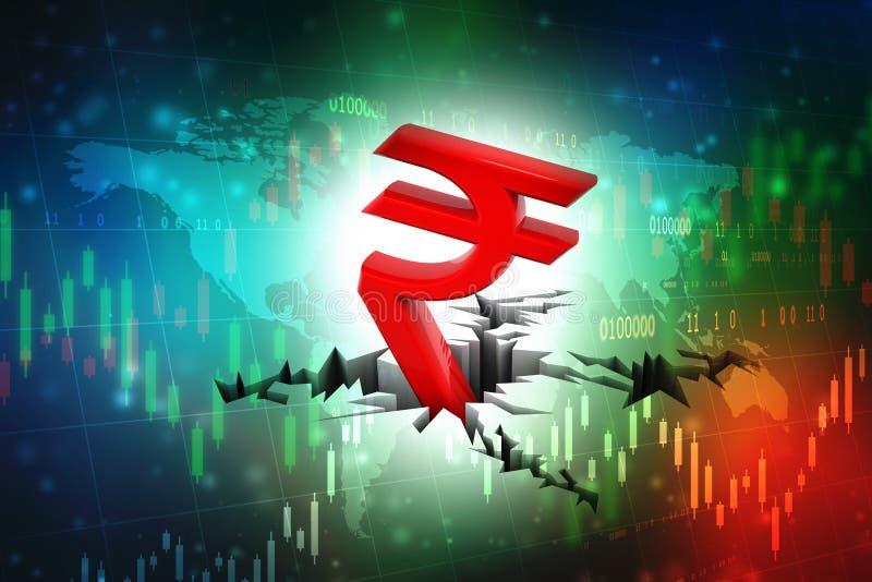 Concepto de la crisis de la rupia india, s?mbolo rojo de la rupia india abajo a la tierra libre illustration