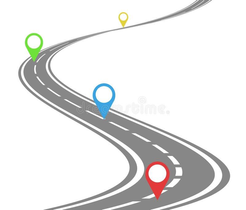Concepto de la cronología de la carretera con curvas stock de ilustración