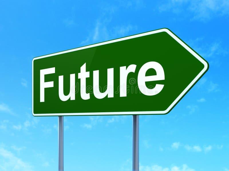 Concepto de la cronología: Futuro en fondo de la señal de tráfico stock de ilustración