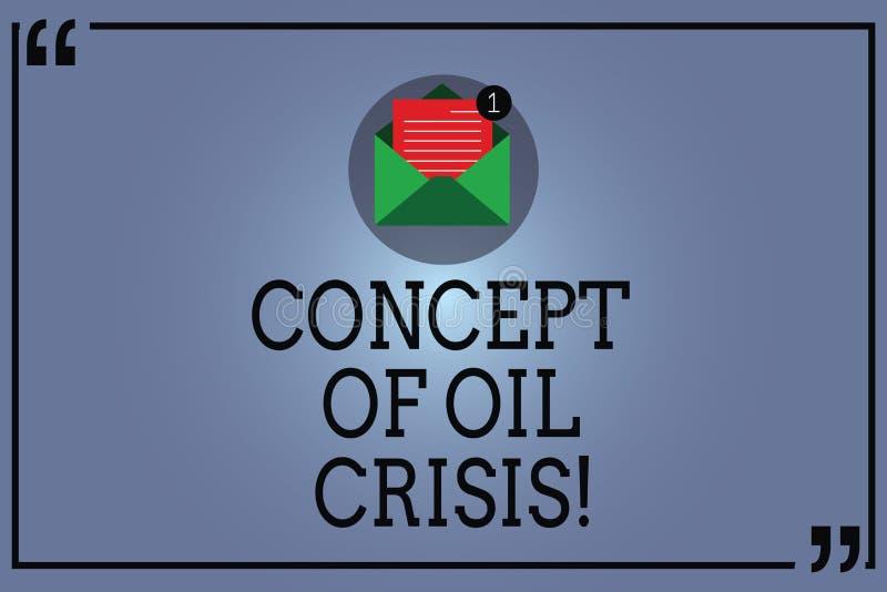 Concepto de la demostración de la muestra del texto de crisis del petróleo Precios conceptuales del petróleo de la foto que caen  libre illustration