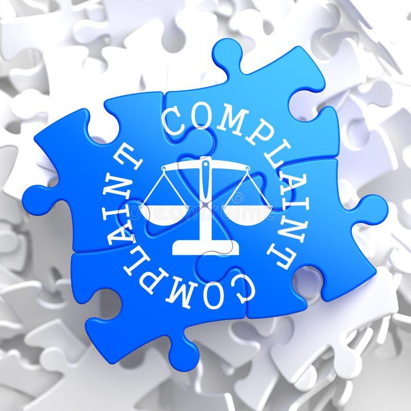 Concepto de la denuncia en rompecabezas azul. ilustración del vector