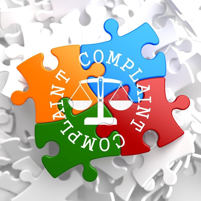 Concepto de la denuncia en rompecabezas multicolor. ilustración del vector