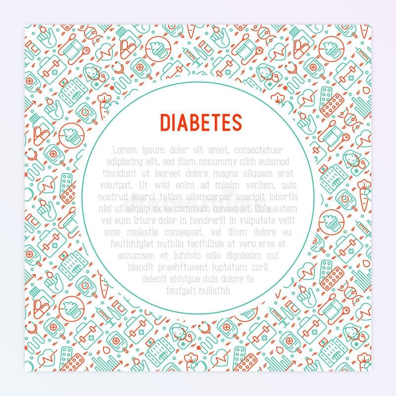 Concepto de la diabetes con la línea fina iconos stock de ilustración