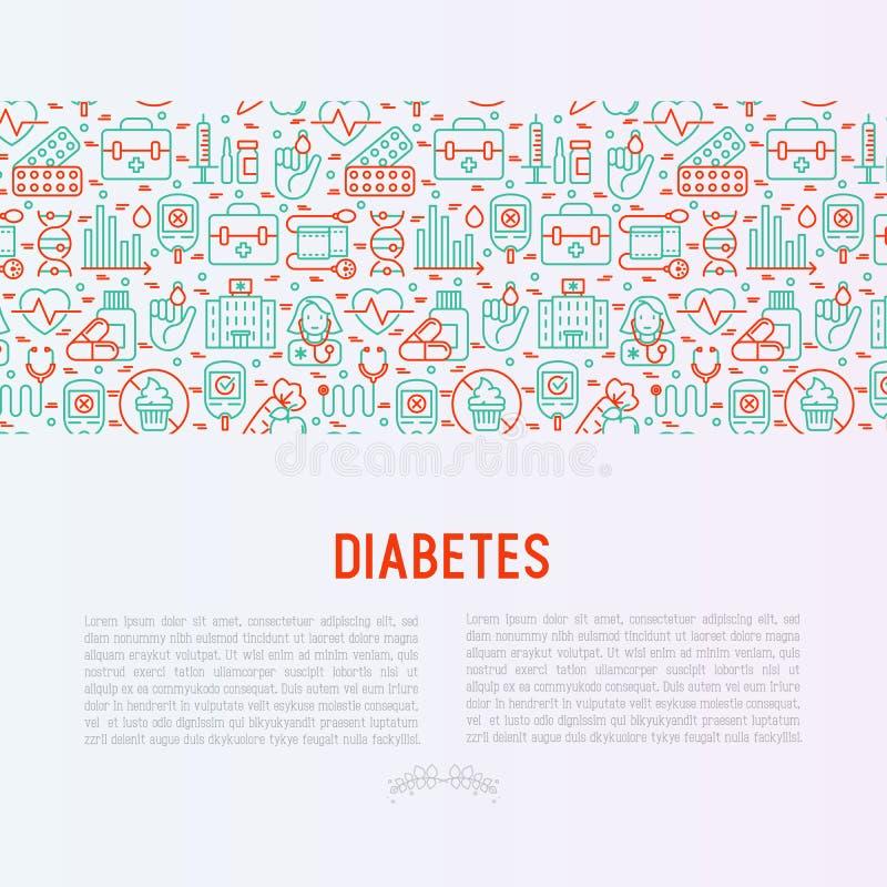 Concepto de la diabetes con la línea fina iconos ilustración del vector