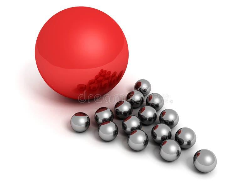 Concepto de la dirección con el líder metálico del rojo de las bolas de la flecha stock de ilustración