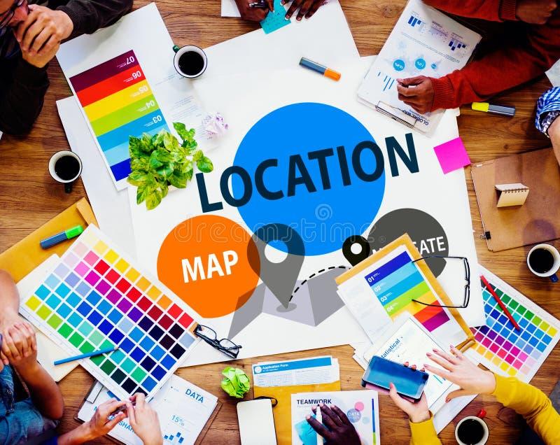 Concepto de la dirección del mapa de la navegación del destino de la ubicación fotografía de archivo libre de regalías