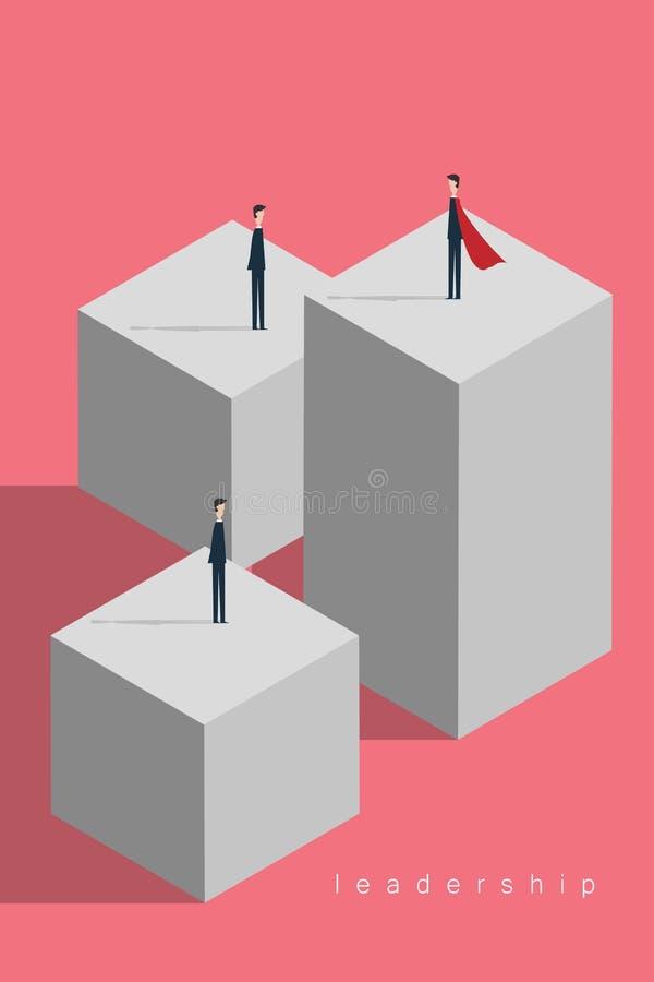 Concepto de la dirección del negocio con el líder como super héroe ilustración del vector