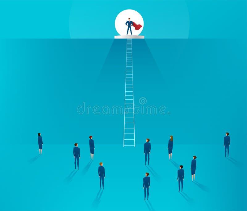 Concepto de la dirección El hombre de negocios que se coloca en una colina, el equipo está en la parte inferior ilustración del vector
