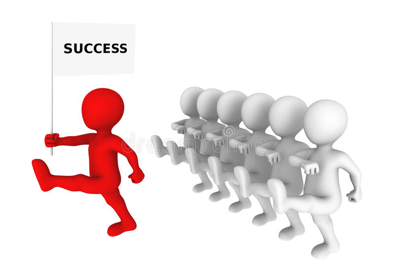 Concepto de la dirección El líder rojo marcha al éxito ilustración del vector