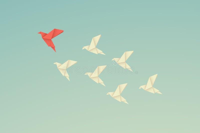 Concepto de la dirección de las finanzas del negocio del vector con el pájaro de papel rojo de la papiroflexia que lleva entre bl stock de ilustración