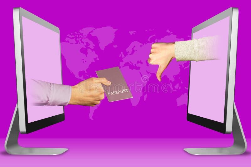 Concepto de la disminución de la visa, dos manos de los ordenadores portátiles pasaporte y pulgares abajo, aversión ilustración 3 stock de ilustración