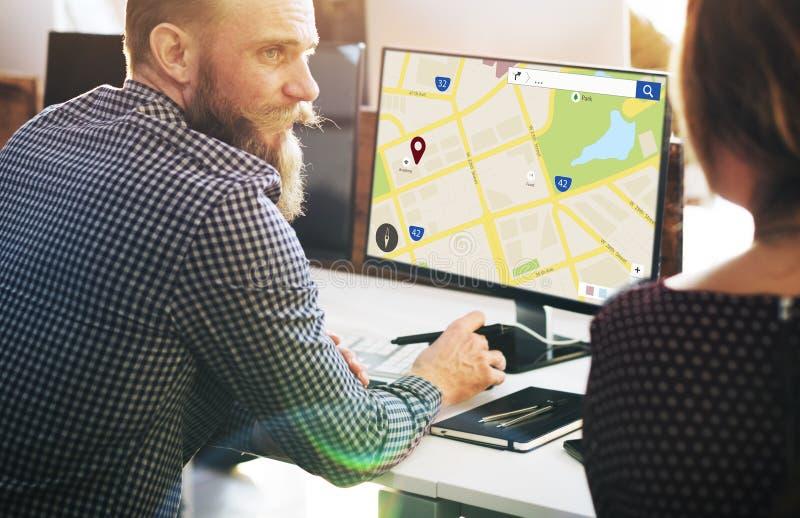 Concepto de la disposición del web de la información de ubicación del mapa imagen de archivo