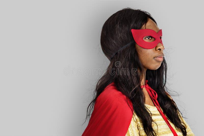 Concepto de la diversión del traje del superhéroe foto de archivo