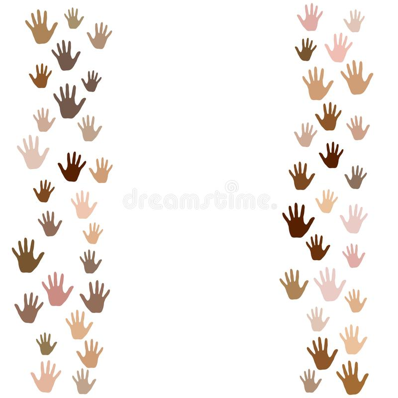 Concepto de la diversidad del color de piel Símbolos sociales, nacionales, raciales de los problemas La mano imprime, las palmas  ilustración del vector