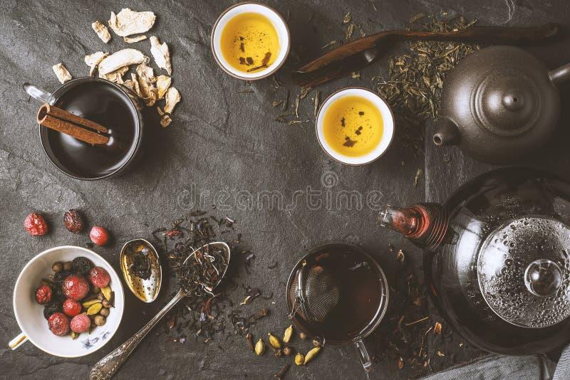 Concepto de la diversidad del té horizontal imágenes de archivo libres de regalías