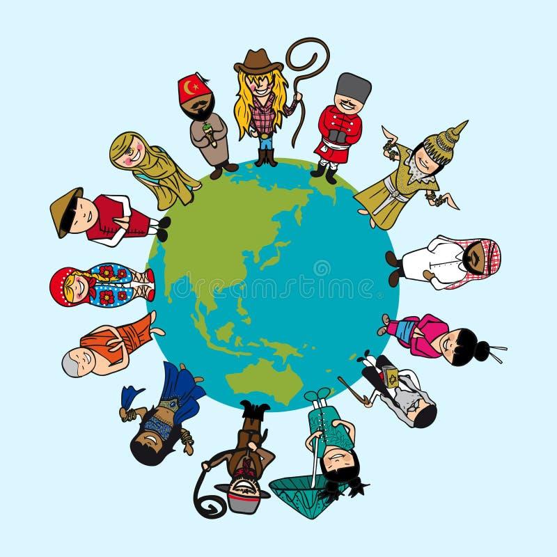Concepto de la diversidad, historietas de la gente sobre el oído del planeta ilustración del vector