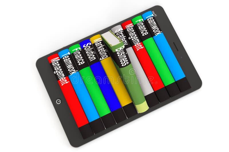 Concepto de la E-biblioteca del negocio. Tablet PC con los libros libre illustration